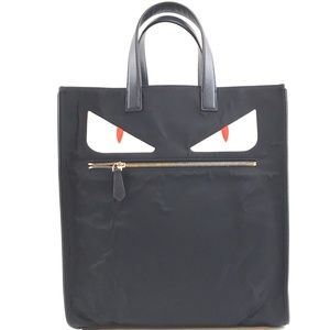 Bag Monster Eyes Navy Nylon and Leather Tote
